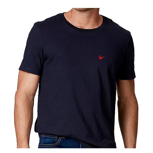 Camiseta Masculina Azul Lisa 100% Algodão