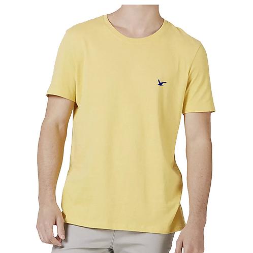 Camiseta Masculina Amarela Lisa 100% Algodão
