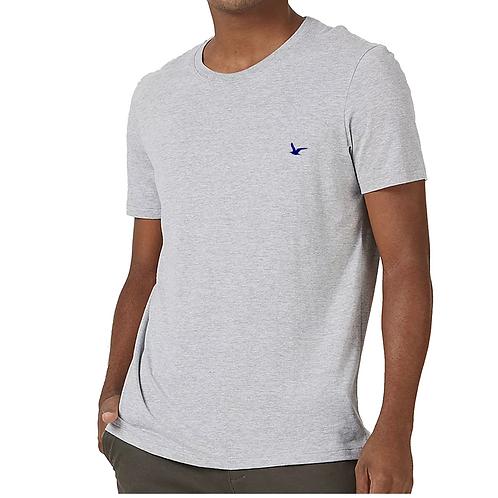 Camiseta Masculina Cinza Lisa 100% Algodão