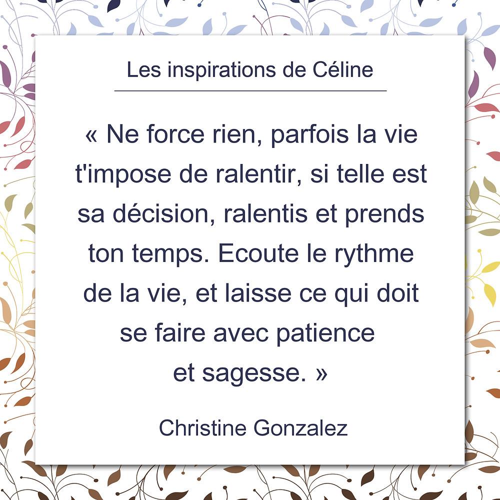 Les inspirations de Céline Kempf, citation de Françoise Sagan au sujet du bonheur.