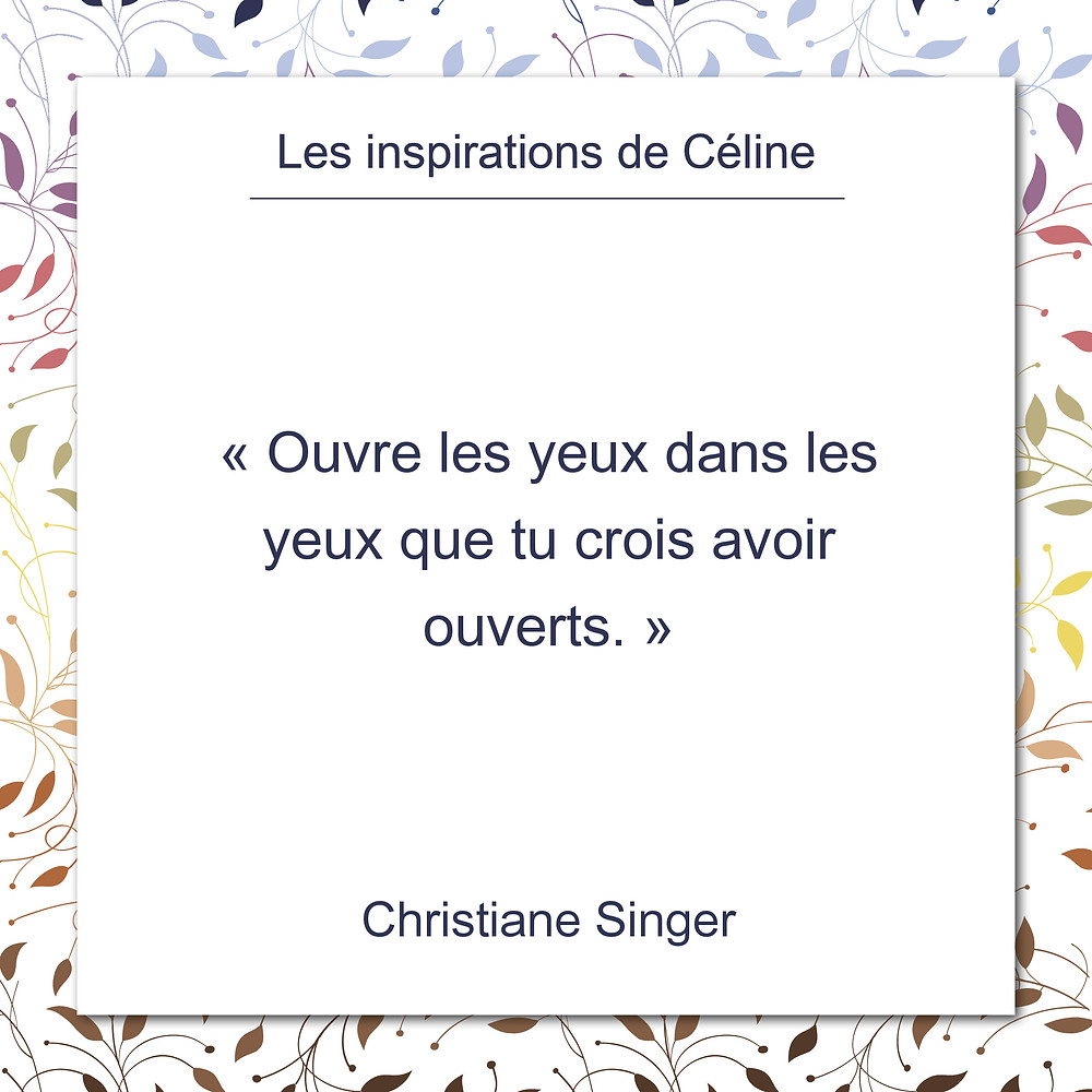 Les inspirations de Céline Kempf, citation de Christiane Singer, conscience, vision