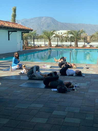 Yoga and Pilates classes by the pool.