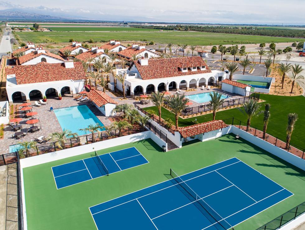 New Members Club Campus complete with pickleball and tennis courts, adult and kids pool, spa, fitness facility, restaurant and our 48 Casita Suites.