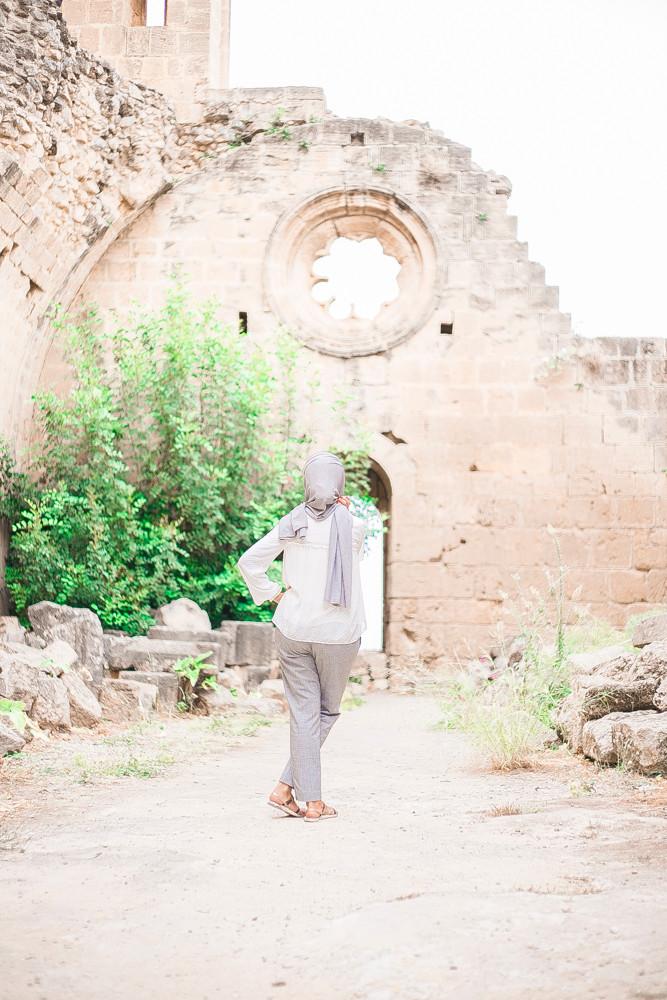 hijab style pose bellapais monastery