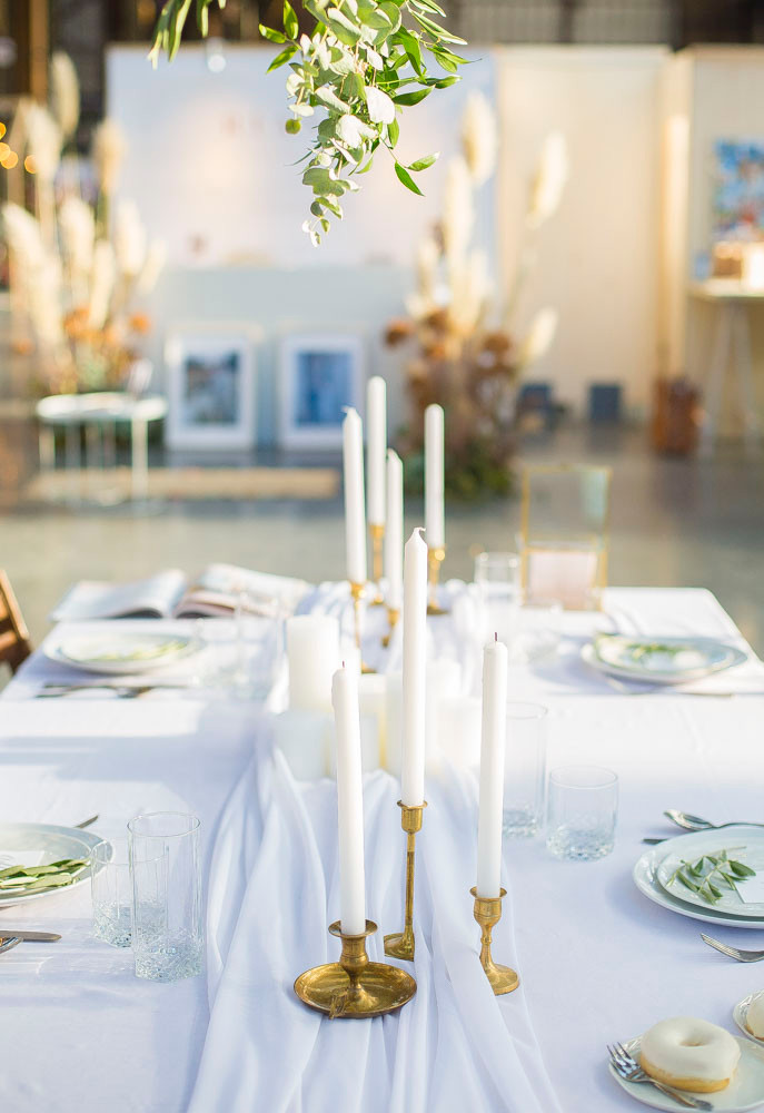 white table styling wedding