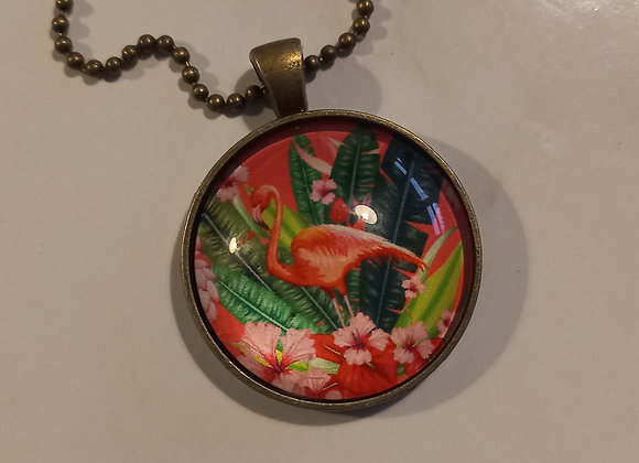 Flamingo necklace bronze setting