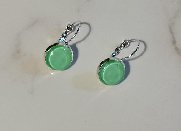 Glass Domed Earrings - Mint