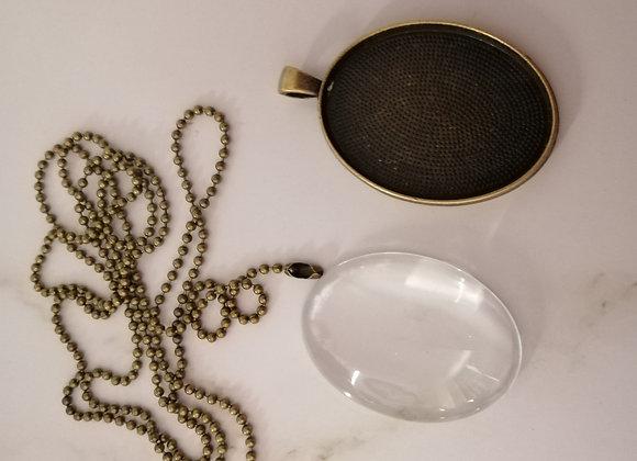 DIY Oval Necklace Bronze- 30x40mm