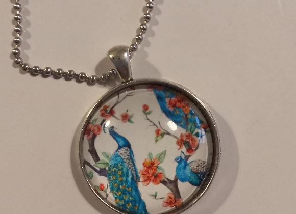 White Peacock silver necklace