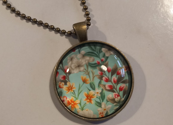 Vintage floral necklace bronze setting