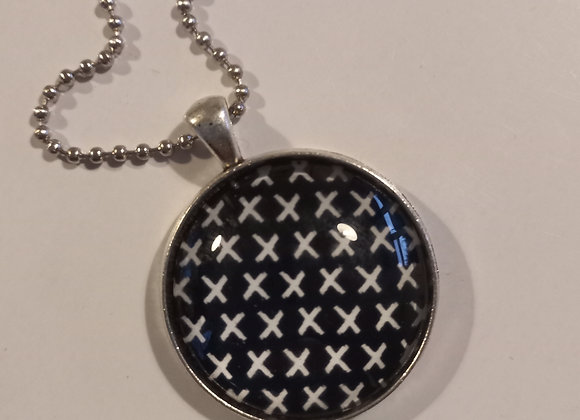 Black cross necklace  silver setting
