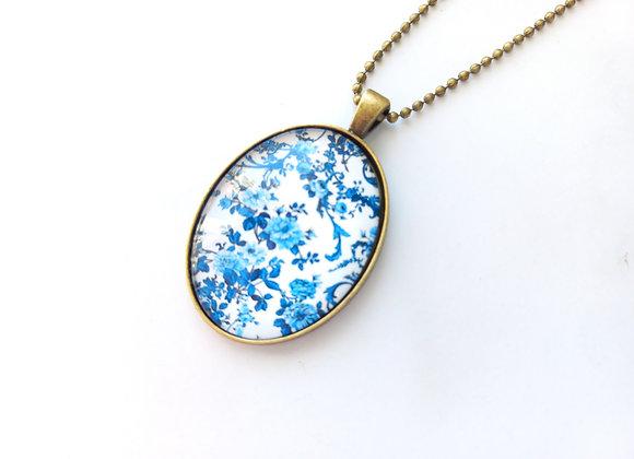 Blue Floral Necklace Bronze Setting