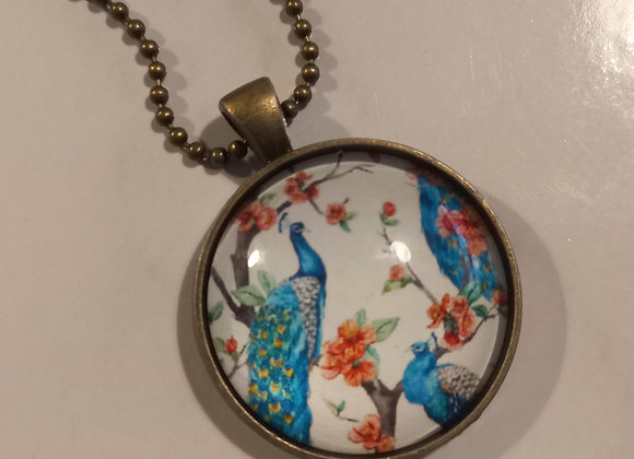 White Peacock necklace bronze setting