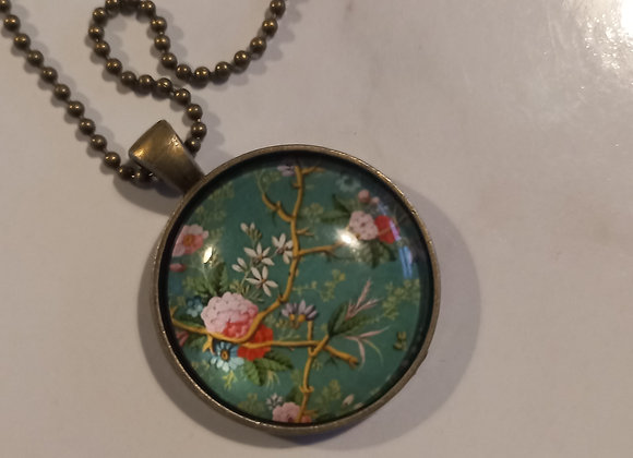 Deep  Green floral necklace  bronze setting
