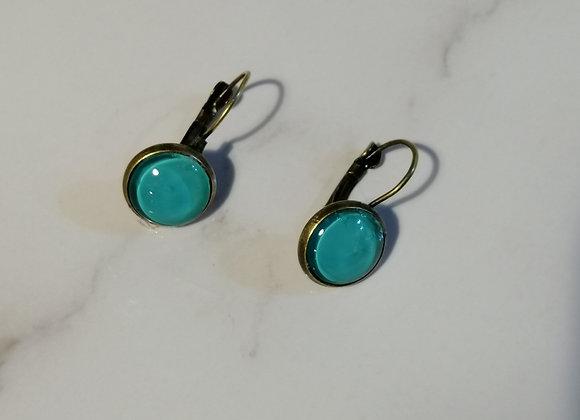 Glass Domed Earrings - blue/bronze