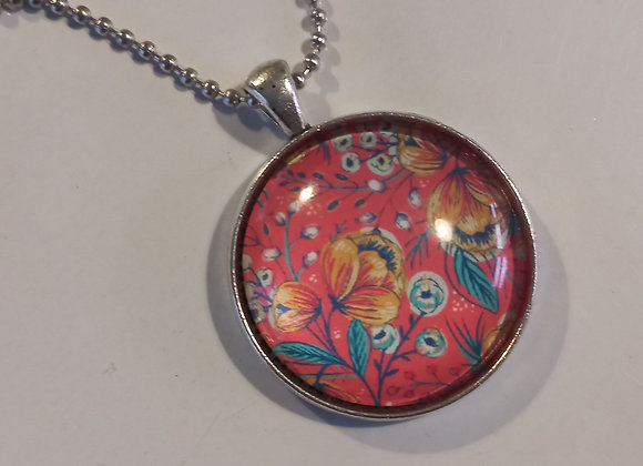 Red floral necklace setting  silver