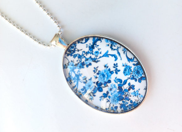 Blue Floral Necklace - Silver Setting