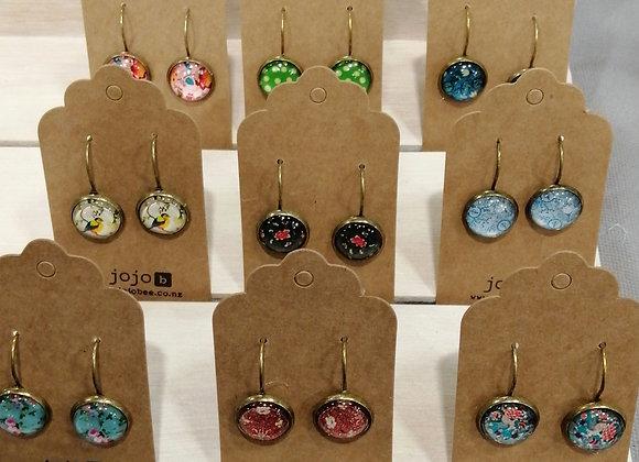 10 mixed Bronze leverback glass earrings