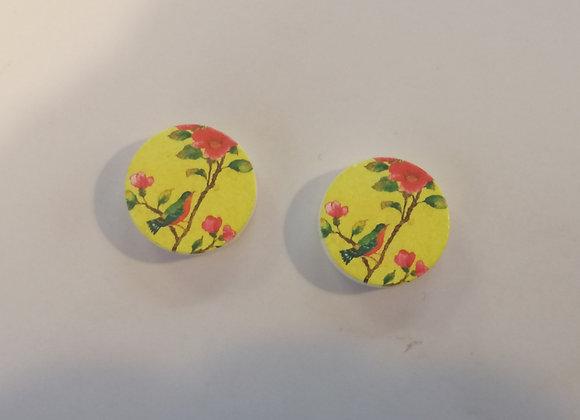 Printed Wood  - Yellow Bird Stud
