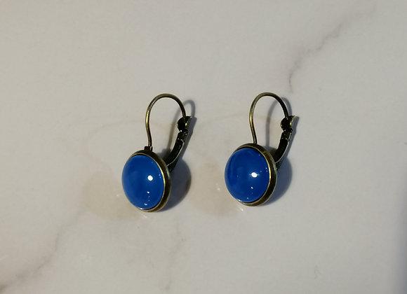 Glass Domed Earrings - Bright blue/bronze