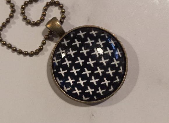 Black cross necklace bronze setting