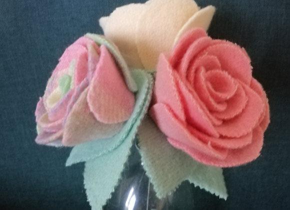 Woollen Flower Trio - Pretty in pink