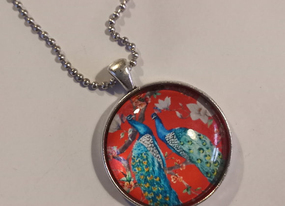Red Peacock necklace bronze setting