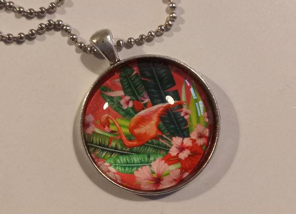 Flamingo necklace silver setting