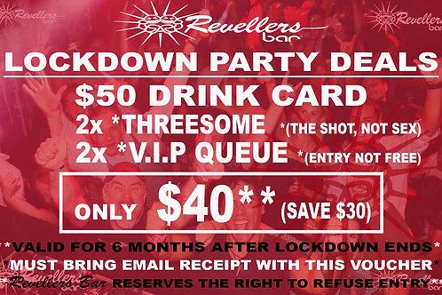 Revellers Lockdown $40 Drink Card