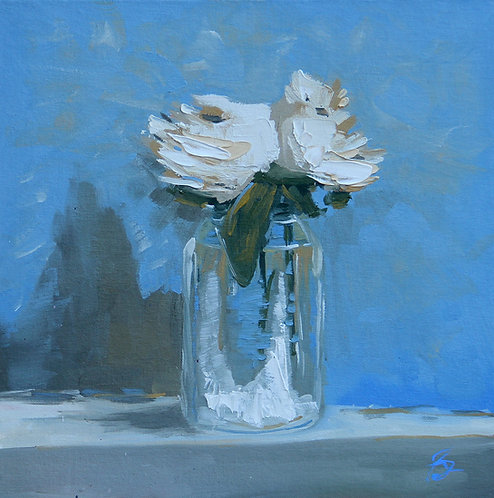 Two White Roses in a Mason Jar