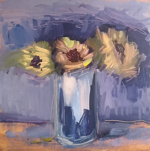 Three Flowers In a Silver Vase