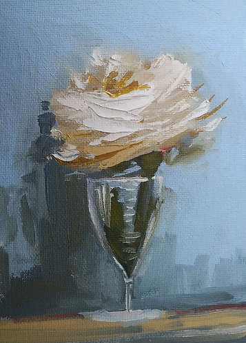 White Rose in a Wine Glass