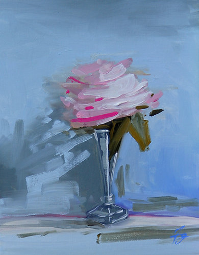 Blushing Rose in a Silver Bid Vase