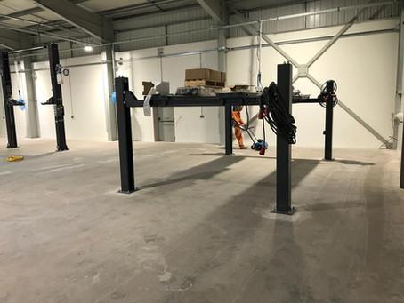 Floor shot blasting - Car body repair shop