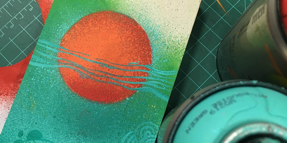 Waterbased Spray Painting with Stencils (Sun) $30