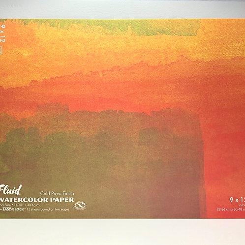 "Fluid Watercolor Paper Easy-Block Cold Press 9"" x 12"""