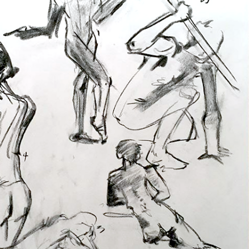 Set of 4 Figure Drawing Studio Sessions (no instruction)
