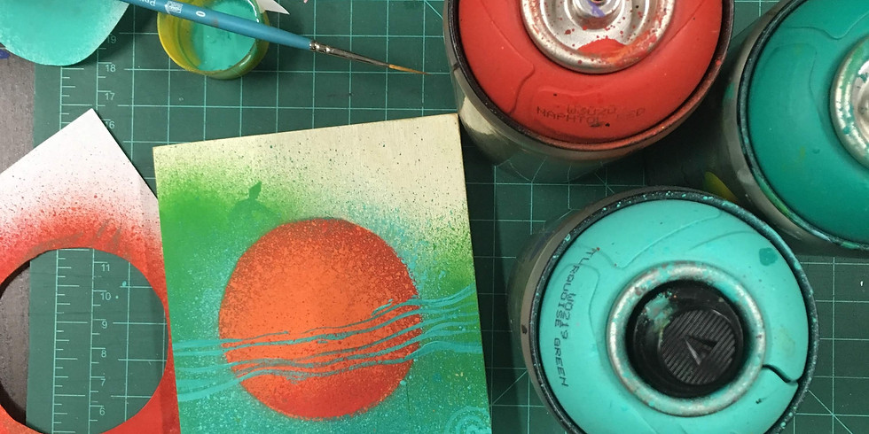 Waterbased Spray Painting with Stencils (Sat) $30
