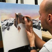 Rich's landscape painting is coming alon