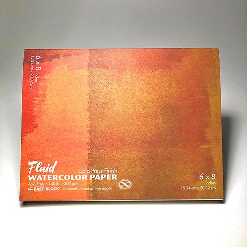 "Fluid Watercolor Paper Easy-Block Cold Press 6"" x 8"""