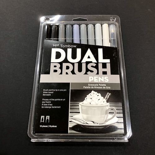 Dual Brush Pens 10-Pen Set - Grayscale