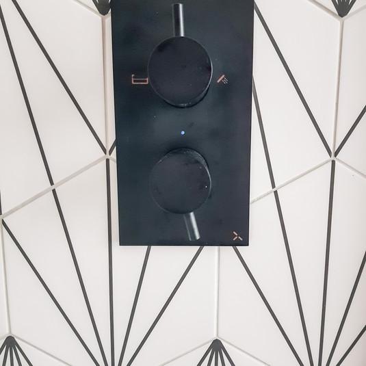 Black shower valve and brassware