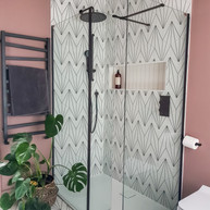 Tiles that make an impact....and a plant to soften the space!