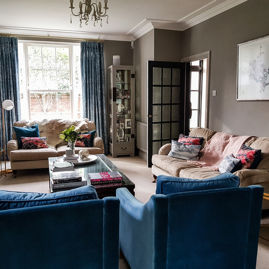 Colourful velvet chairs for interest and luxury