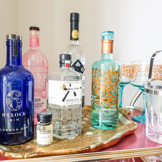 Colourful bottles on a drinks tray or trolley