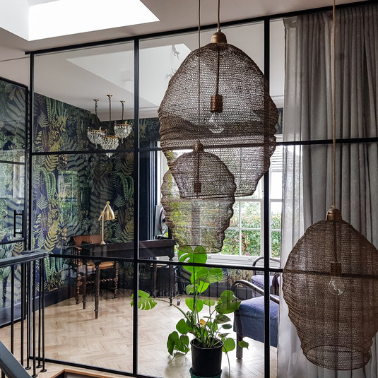 Open study with glass wall