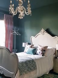 Dark and moody guest bedroom