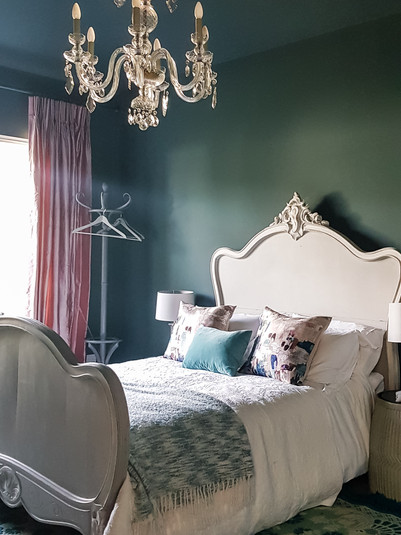 Dark and moody guest bedroom