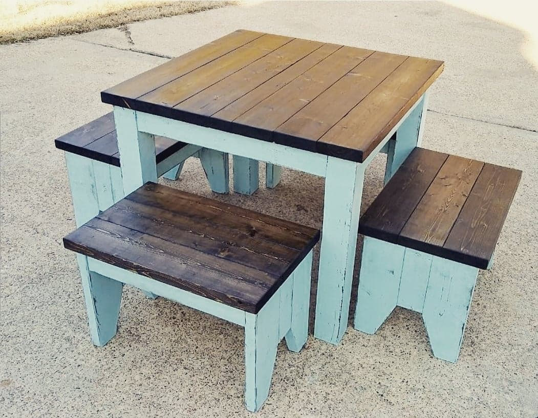 4ft x 4ft Table with four benches
