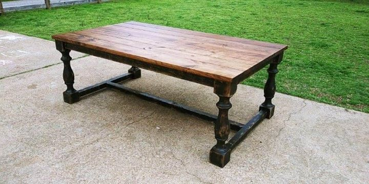 4x8 table with turned legs